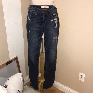 Dark Blue Distressed Abercrombie Jeans